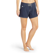 405BoardShorts_WOMENS_BOARDSHORTS-CLASSIC_NAVY_WA3405 On Model Front view
