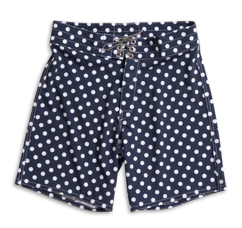 808 Board Shorts - Navy & White Polka Dot