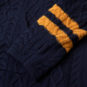 BajaHoodieFishermanSweater_Mens_Sweaters_NavyGold_up_close_sleeve