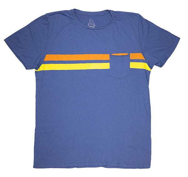Indigo & Gold Comp Stripe T-Shirt - Front
