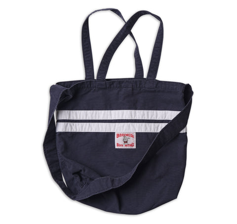 Stone-Washed Canvas Tote - Navy & White
