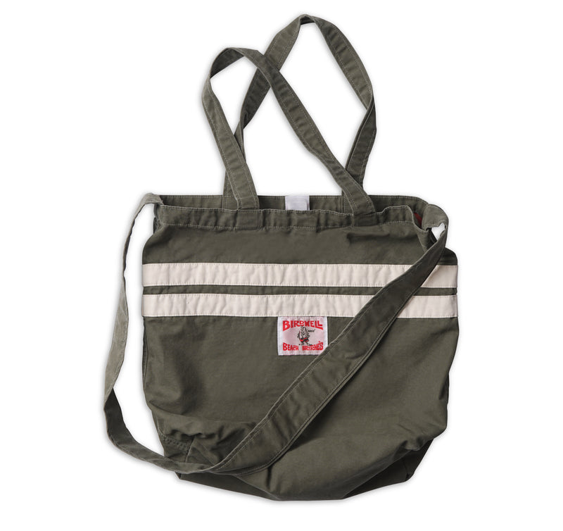 Stone-Washed Canvas Tote - Olive & Natural