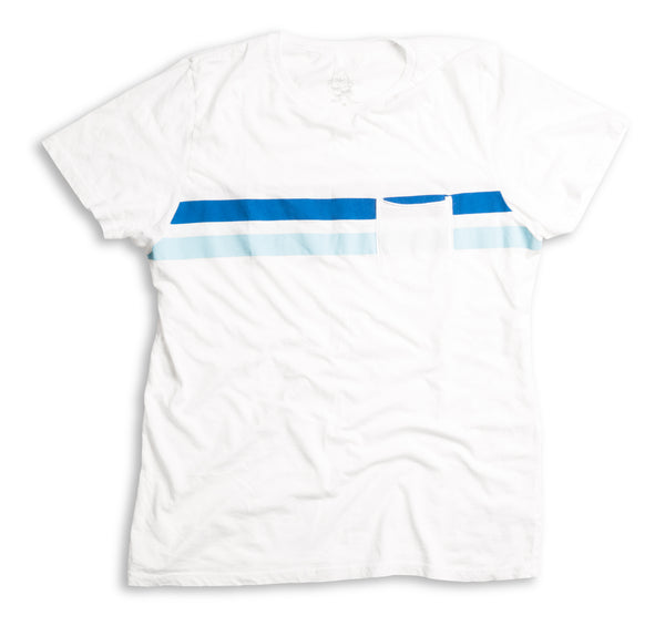 Comp Stripe T-Shirt - White & Navy / Sky Blue