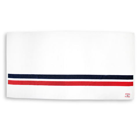 Comp Stripe Beach Towel - White & Navy / Red