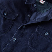 CorduroyWorkShirt_MENS_OUTERWEAR_NAVY_MA5006 Close Up View Of Front