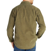 CorduroyWorkShirt_MENS_OUTERWEAR_OLIVE_MA5006 On Model Back View