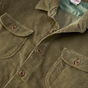 CorduroyWorkShirt_MENS_OUTERWEAR_OLIVE_MA5006 Close Up Front View
