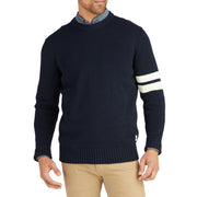 CottonKnitSweater_MENS_OUTERWEAR_NAVY_CREAM_MA6001 on model front view