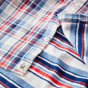 FlannelWorkShirt_MENS_SHIRT_NATURALPLAID_MA5005 Close Up Front Open View