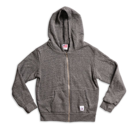 Kid's Hooded Zip Front Sweatshirt - Heather Grey