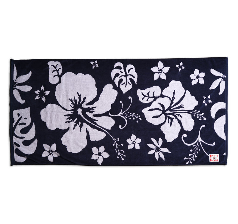 Hibiscus Beach Towel - Navy & White