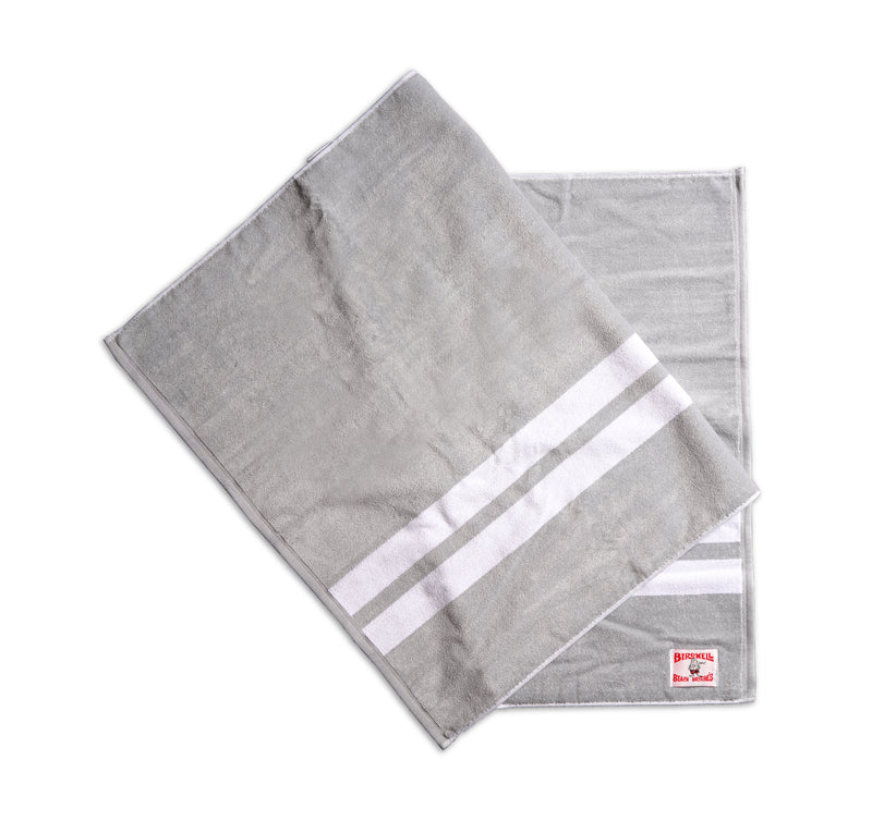 Comp Stripe Beach Towel - Light Grey & White
