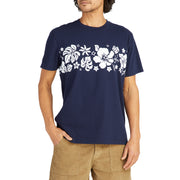 HibiscusTShirt_MENS_T-SHIRT_NAVY_WHITE_MA1019 On Model Front View