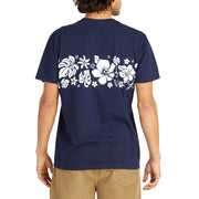 HibiscusTShirt_MENS_T-SHIRT_NAVY_WHITE_MA1019 On Model Back View