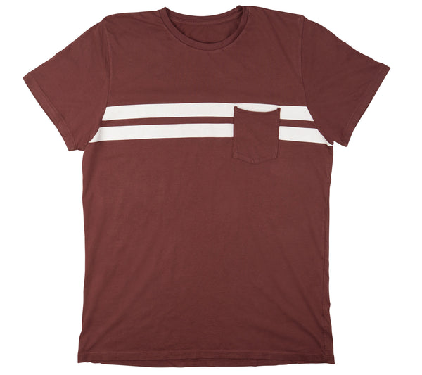 Comp Stripe T-Shirt - Burgundy & White