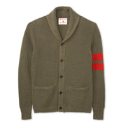 Men's Shawl Collar Cardigan - Olive