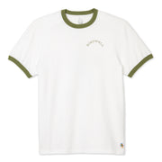 Mens_SunboardRingerTee_Mens_WhiteOlive_MA1037 Flat Lay Front View