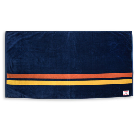 Comp Stripe Beach Towel - Navy & Orange / Gold