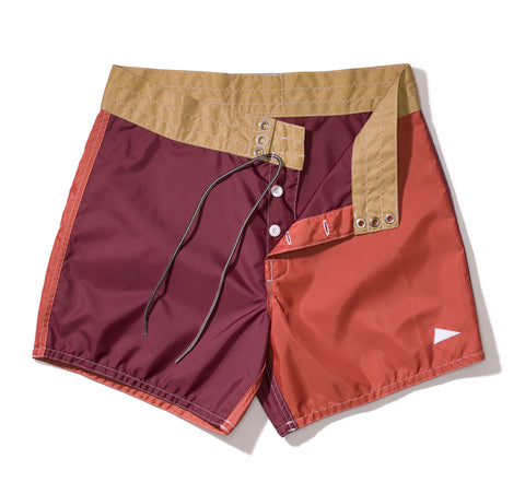 310 Pilgrim Surf + Supply Tritone Board Shorts – Burgundy / Paprika / Tan