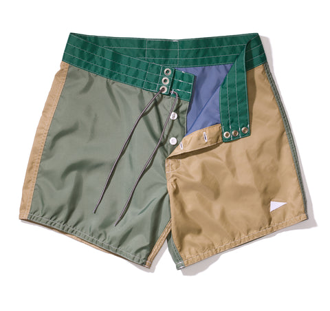 310 Pilgrim Surf + Supply Tritone Board Shorts – Olive / Tan / Kelly Green