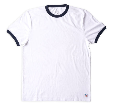Men's Ringer Tee - White & Navy
