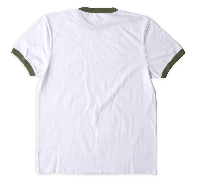 Men's Ringer Tee - White & Olive