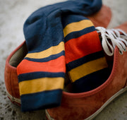 Comp Stripe Socks - Navy & Gold / Paprika