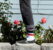 Comp Stripe Socks - White & Red / Navy