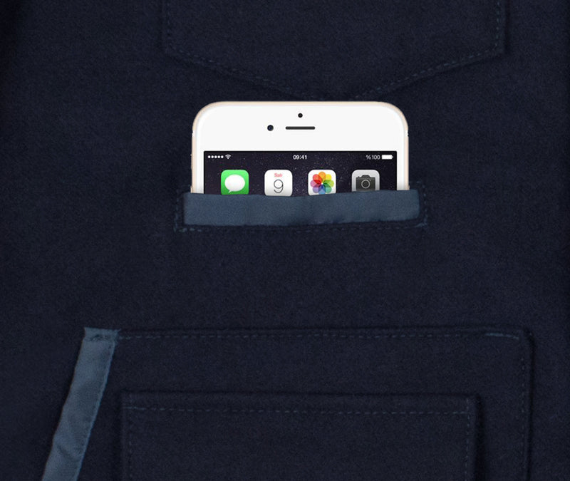 Navy Wool Sportsman Jacket - Phone Pocket