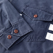 StoneWashedCompJacket_MENS_OUTERWEAR_NAVY_MA9003 Close Up Stitching Detail