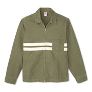 Men's Stone-Washed Canvas Jacket - Olive & Natural Flat Lay Front View