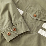 StoneWashedCompJacket_MENS_OUTERWEAR_OLIVE_MA9003 Close Up Stitching Detail