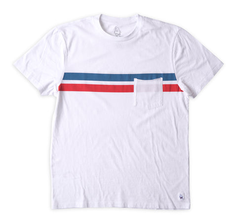 Comp Stripe T-Shirt - White & Turquoise / Red