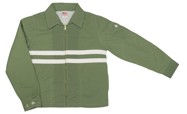 Women's Olive & White SurfNyl Competition Jacket - Front