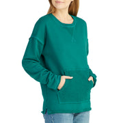 WomensGarmentDyedHermosaCrew_WOMENS_OUTERWEAR_TEALGREEN_WA6003 on model front view