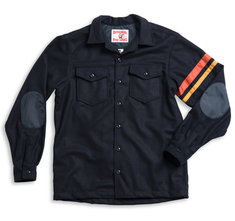 Wool CPO Shirt - Navy & Paprika / Gold