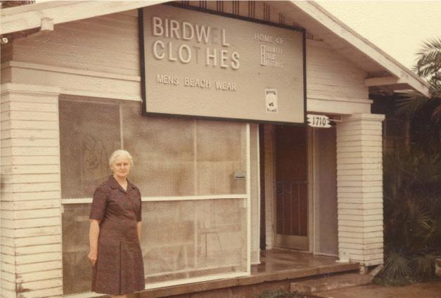 Carrie Birdwell in front of original store.