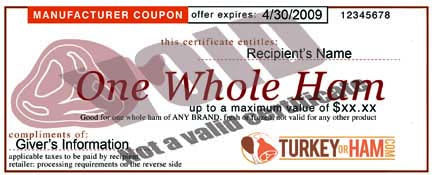 Like a norbest Turkey Certificate, our Ham Certificate can be used to give your friend a Ham when and where they want.