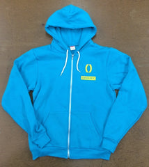 Neon Blue Zip up Hoody