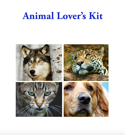 Animal Lover's Kit Booklet - free download