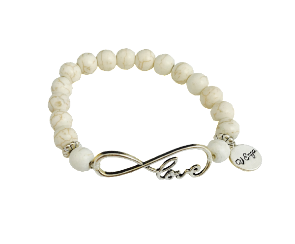 Love Infinity Bracelet, White/Cream - Jewelry for Women | V'Enza Creations