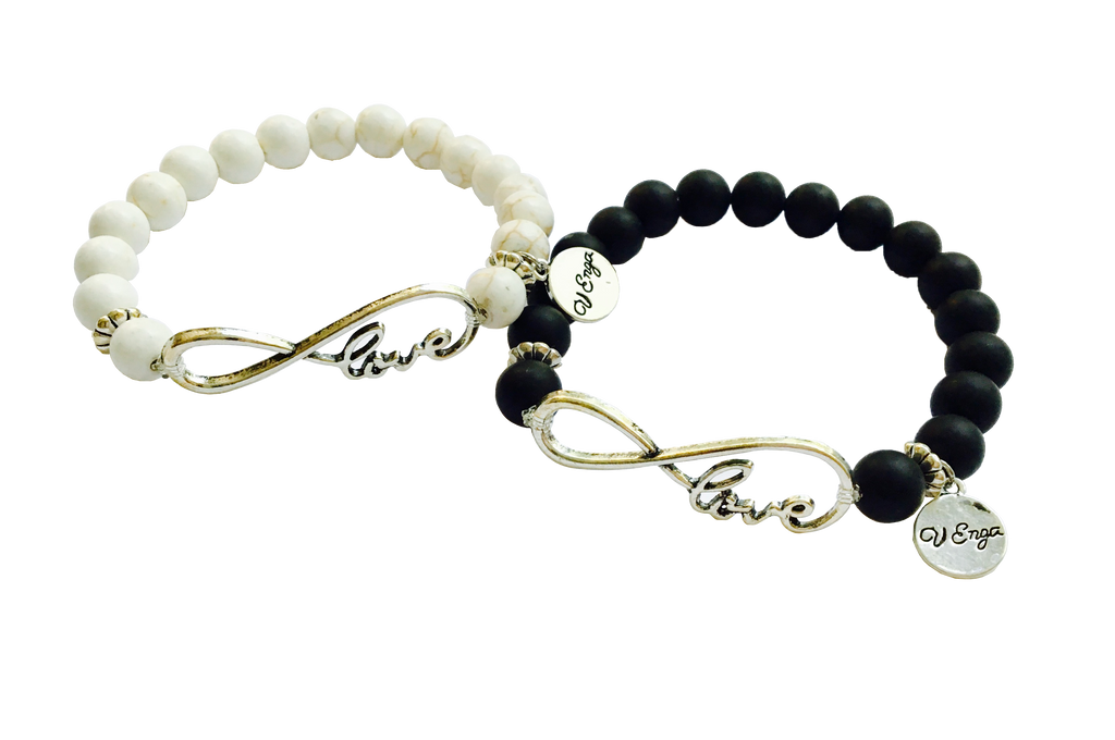 Love Infinity Bracelet, White/Cream, Black Matt - Jewelry for Women | V'Enza Creations