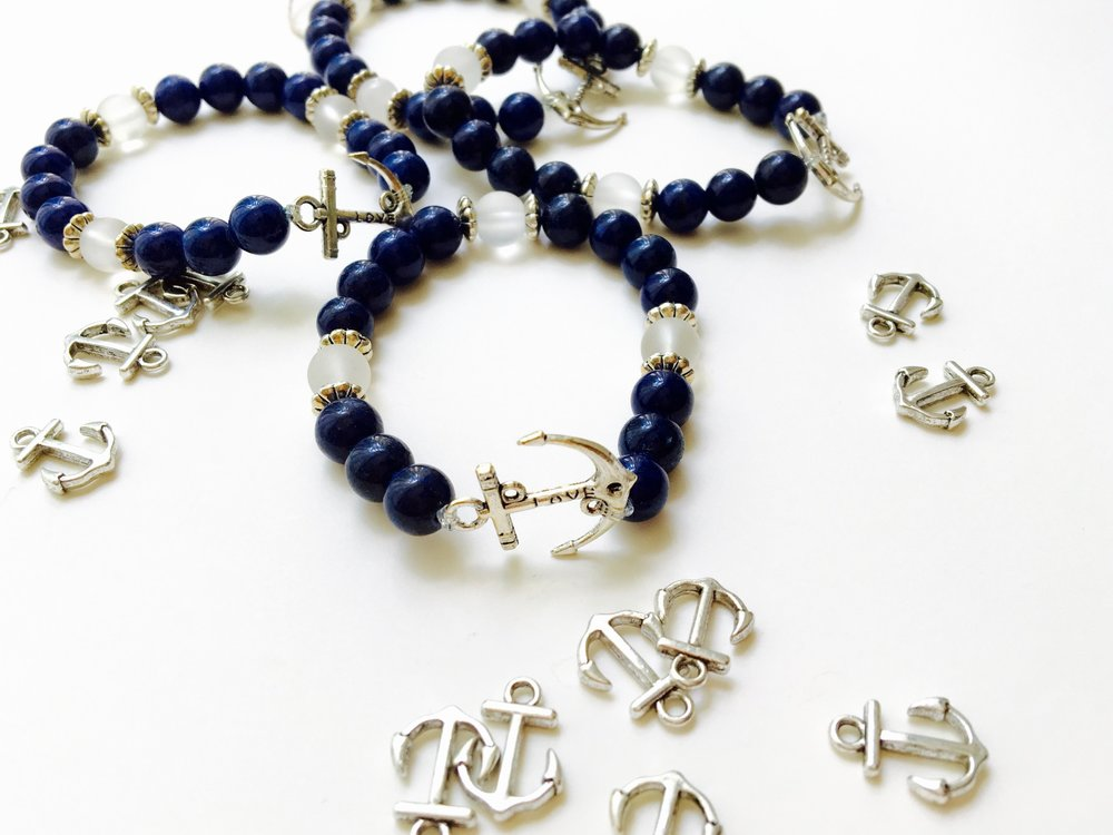 Anchor Bracelet - blue and white mountain jade - Jewelry for Women | V'Enza Creations