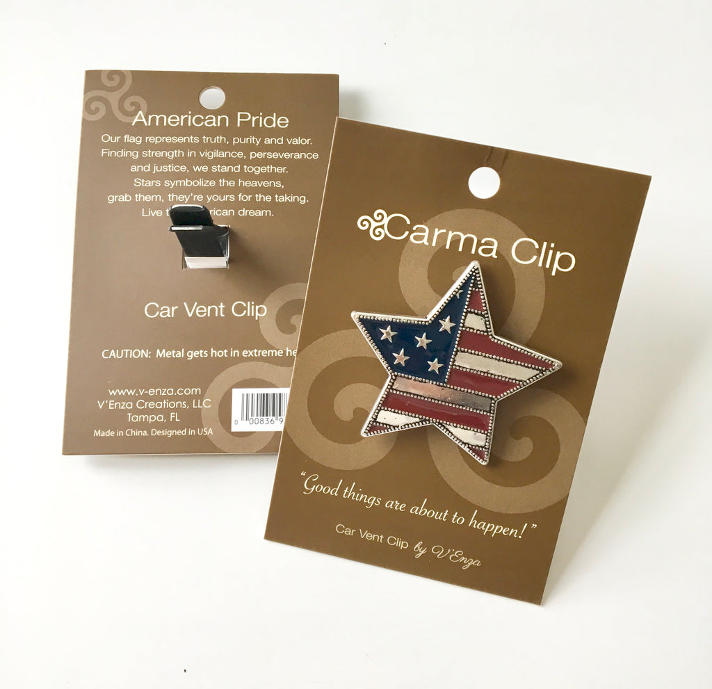 American Pride Car Vent Clip – Essential Oil - Carma Car Collection | V'Enza