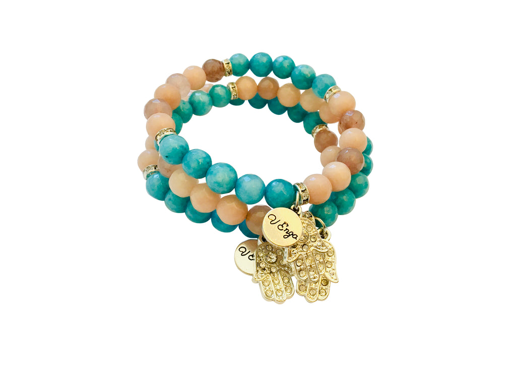 Hamsa Bracelet - blue and tan - Jewelry for Women | V'Enza Creations