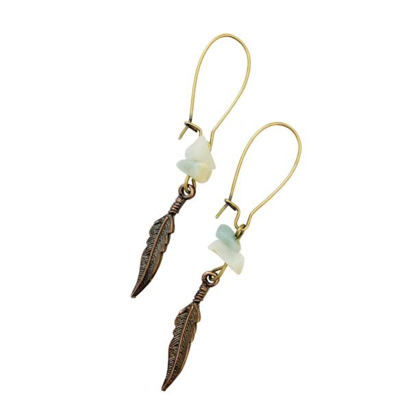 Boho Feather Earrings (Bronze) - Jewelry for Women | V'Enza Creations