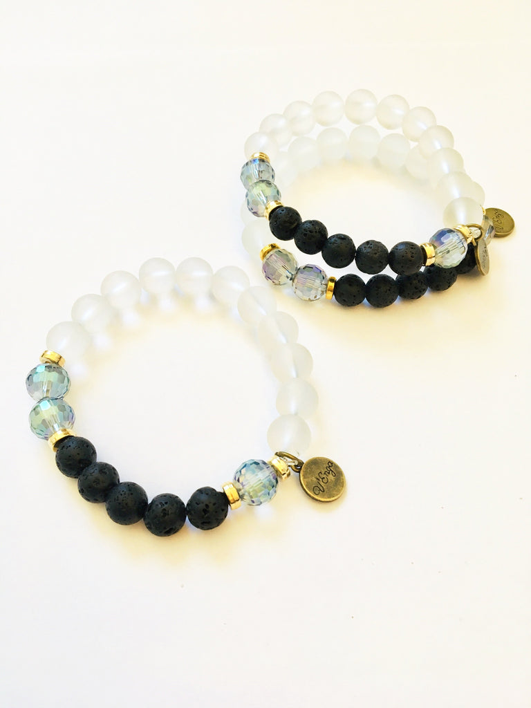 Essential Oil Bracelet ~ lava stones, sea glass - Jewelry for Women | V'Enza Creations