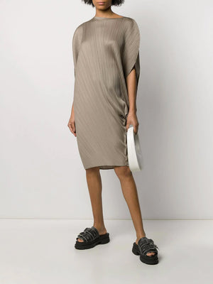 ASH GREY MED LENGTH ROUND DRESS