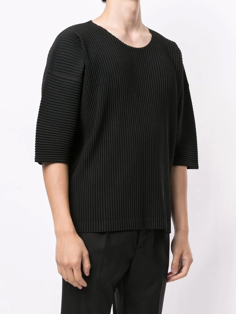 RIBBED CURVED-SLEEVE TOP