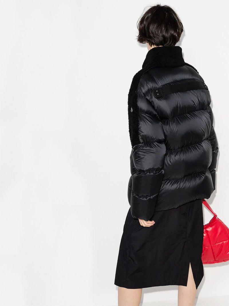 COYOTE WOVEN AND SHEARLING COAT
